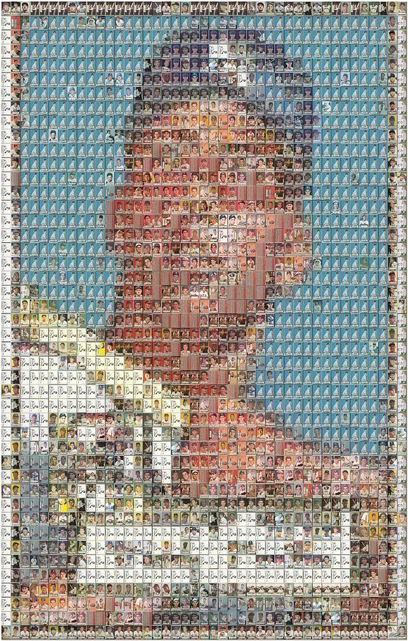 New York Mixed Media - 1952 Topps Mickey Mantle Rookie Card Mosaic by Paul Van Scott