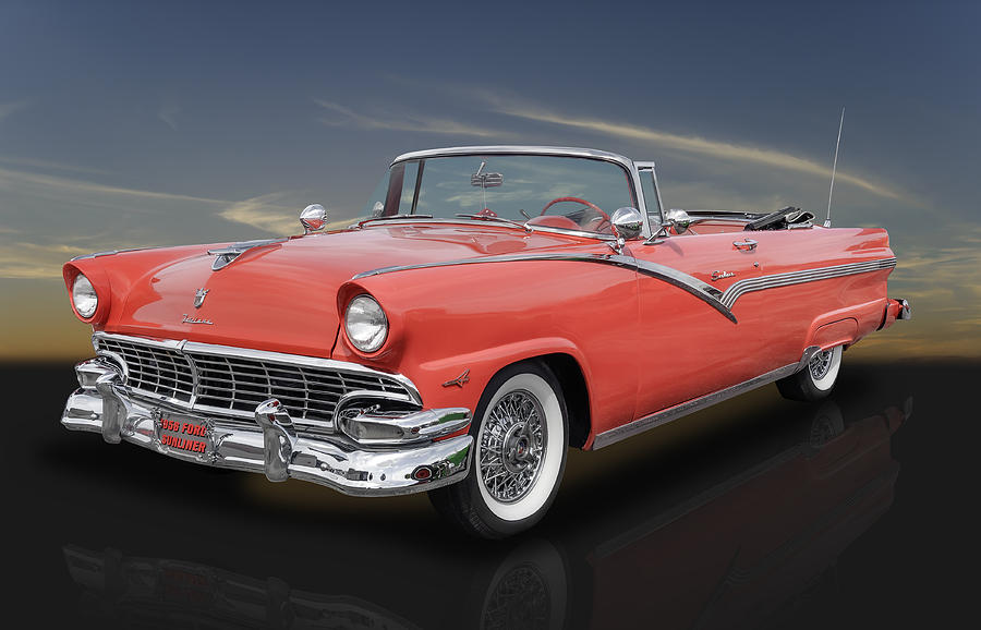 1956 ford fairlane sunliner convertible in fiesta red photograph by frank j benz. Black Bedroom Furniture Sets. Home Design Ideas