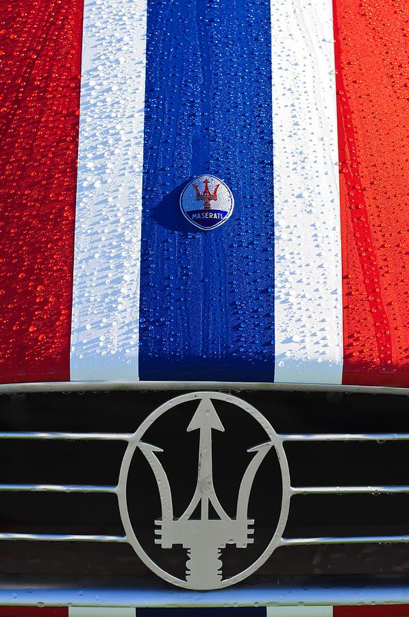 1956 Maserati 350 S Photograph - 1956 Maserati 350 S Hood Ornament Emblem 3 by Jill Reger