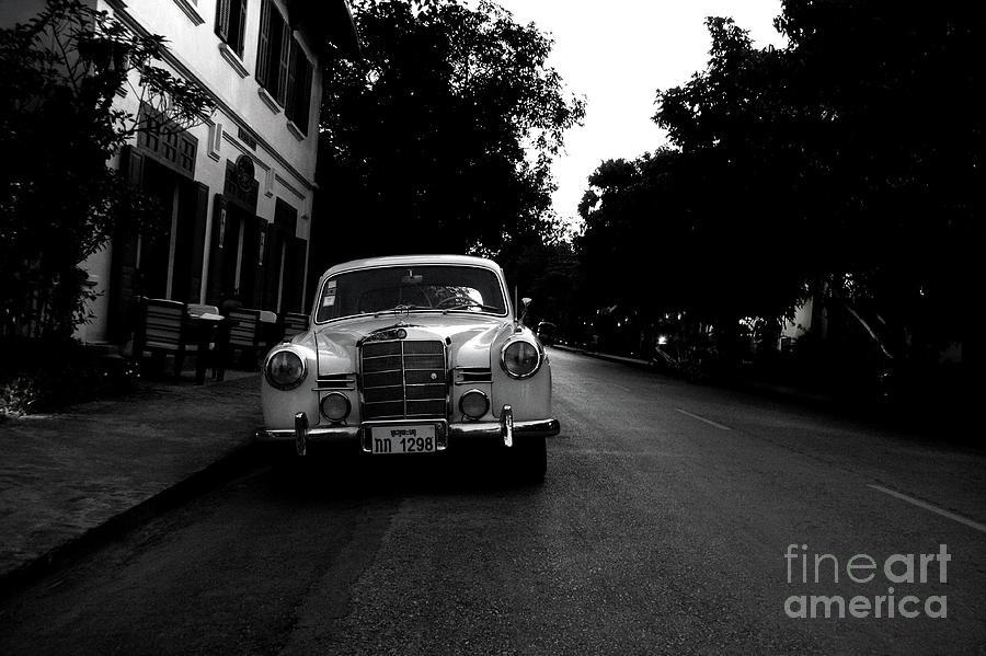 B&w Photograph - 1957 Mercedes Sedan In Luang Prabang Laos by Julia Hiebaum