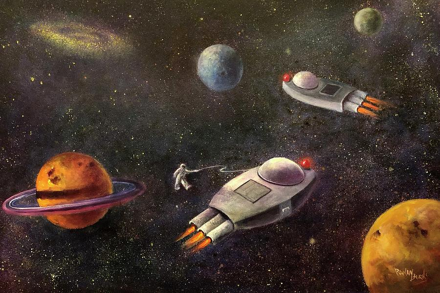 Outer Space Painting - 1960s Outer Space Adventure by Randy Burns aka Wiles Henly