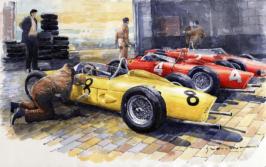 Painting Painting - 1961 Spa-francorchamps Ferrari Garage Ferrari 156 Sharknose  by Yuriy Shevchuk