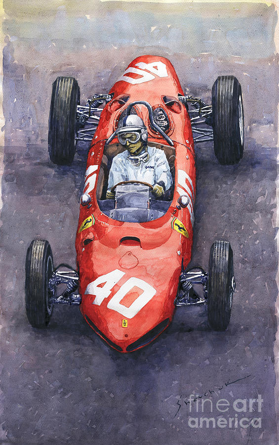 Painting Painting - 1962 Monaco Gp Willy Mairesse Ferrari 156 Sharknose by Yuriy Shevchuk