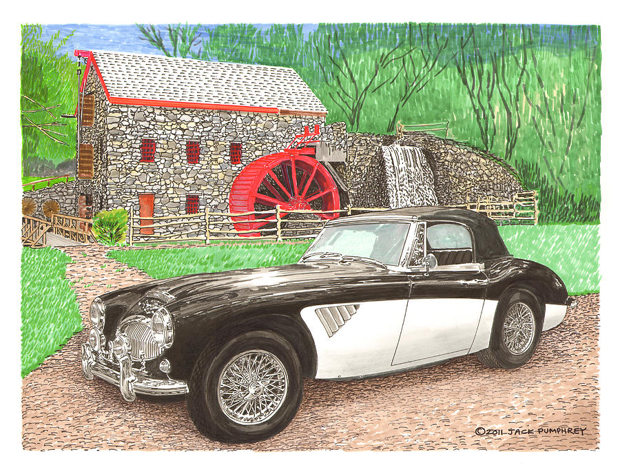 1963 Austin Healey. Santa Fe Concorso Silent Auction Winner In 2011 Painting - 1963 Austin And Sudbury Mill by Jack Pumphrey