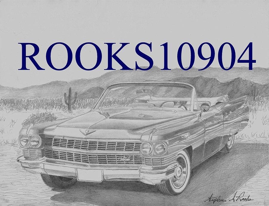1964 Cadillac Convertible Classic Car Art Print Drawing