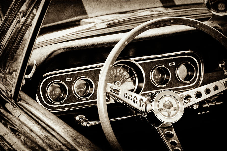 1966 ford mustang cobra steering wheel 0338s photograph. Black Bedroom Furniture Sets. Home Design Ideas