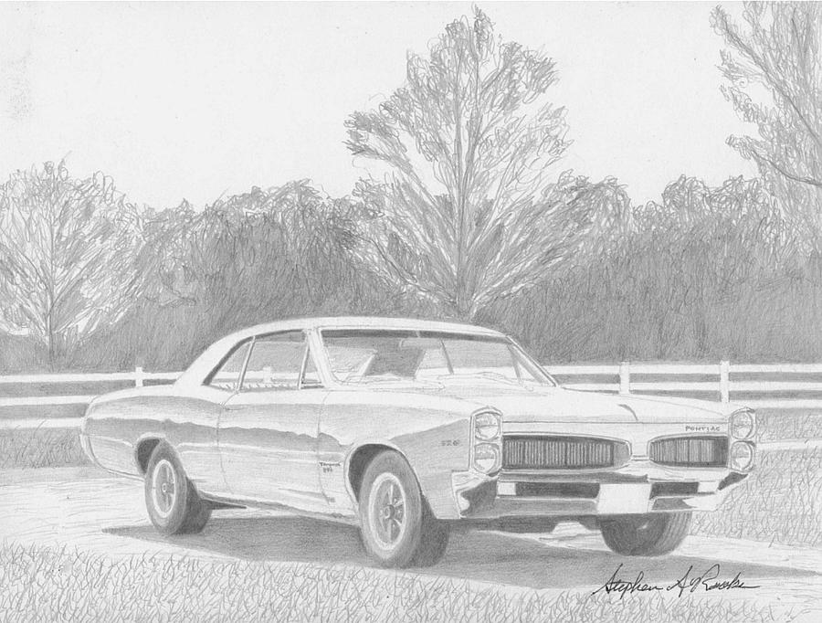 Rooks10904 Drawings Drawing - 1967 Pontiac Tempest Muscle Car Art Print by Stephen Rooks