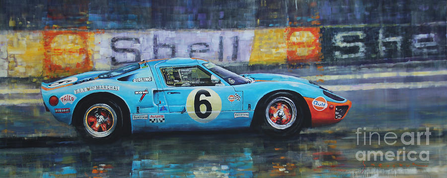 Painting Painting - 1969 Le Mans 24 Ford Gt40 Jacky Ickx Jackie Oliver Winner by Yuriy Shevchuk