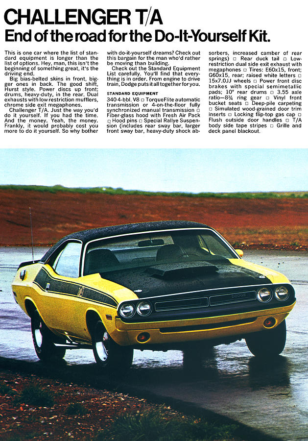1971 Digital Art - 1971 Dodge Challenger T/a by Digital Repro Depot