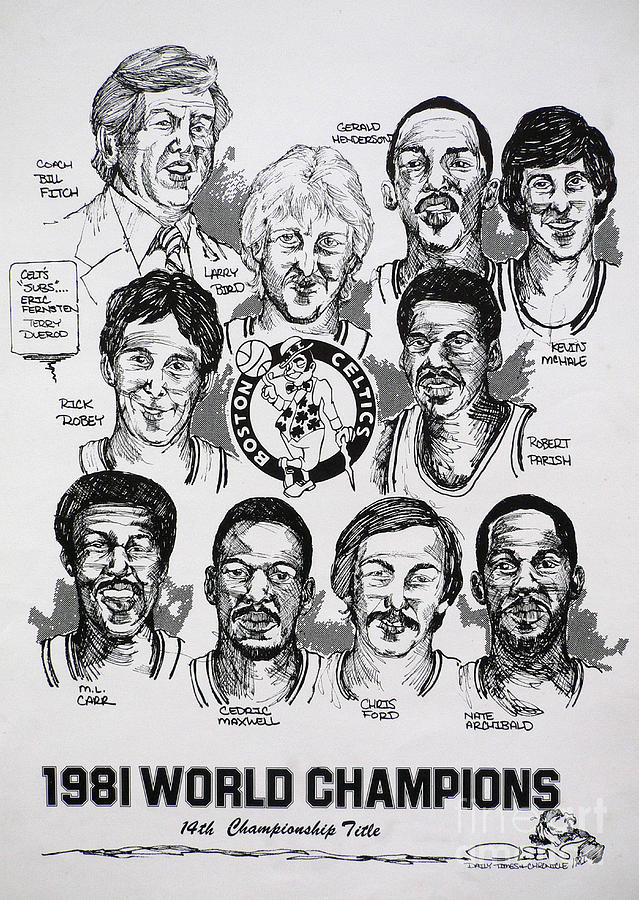 Nba Drawing - 1981 Boston Celtics Championship Newspaper Poster by Dave Olsen