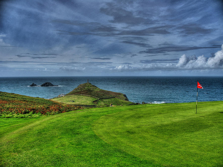 Golf Photograph - 1st Green Cape Cornwall Golf Club by Chris Thaxter