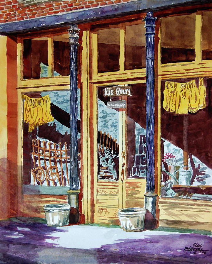 Store Fronts Painting - 5 Oclock On Pecan St. by Ron Stephens