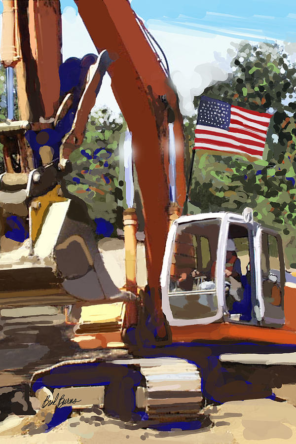 Bulldozers Painting - American Tractor by Brad Burns