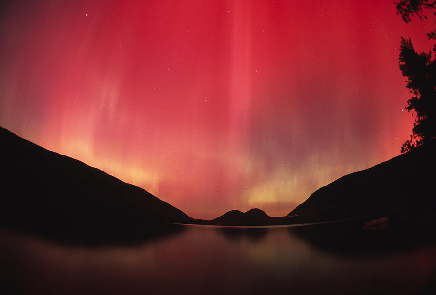 Color Image Photograph - Aurora Borealis Over Jordan Pond by Michael Melford