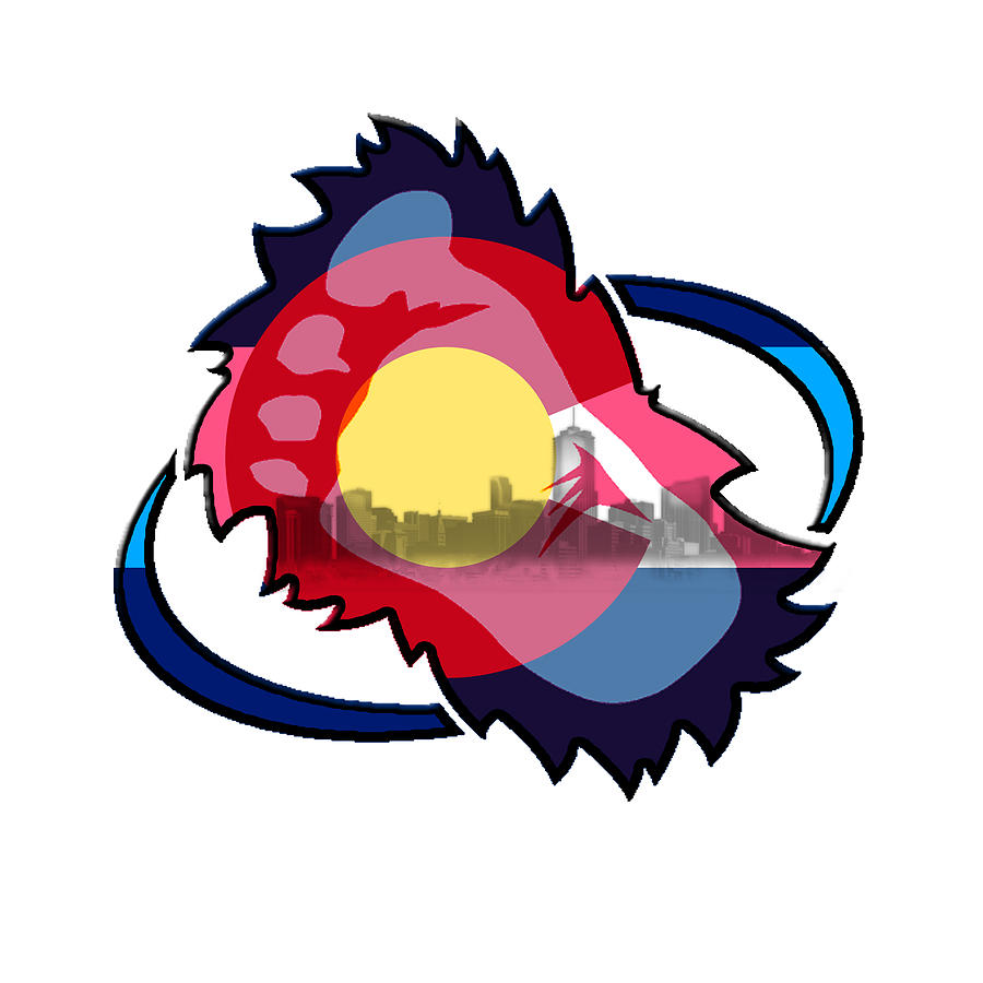 ... Digital Art - Avalanche Foot Logo With Colorado Flag by Becca Buecher