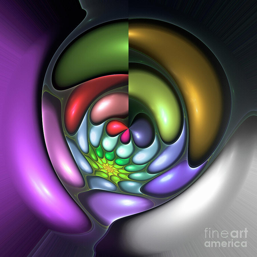 Colorful Abstract Art Design Bubble Flower Spiral Expressionism Color Purple Green Digital Art - Colorful by Stefan Kuhn