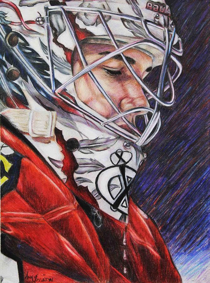 Chicago Blackhawks Corey Crawford Hockey Goalie Drawing - Corey Crawford by Annie Wegrzyn
