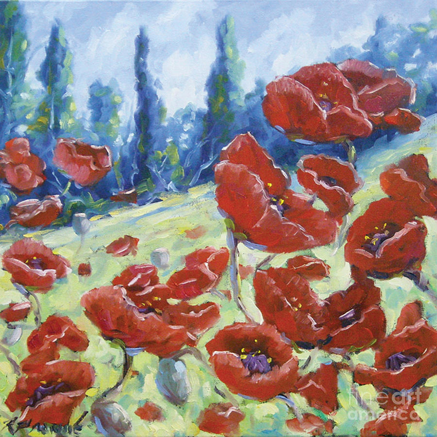 Art Painting - Dancing Poppies by Richard T Pranke