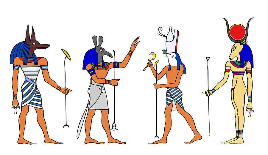 Relief Drawing - Egyptian Gods And Goddess by Michal Boubin