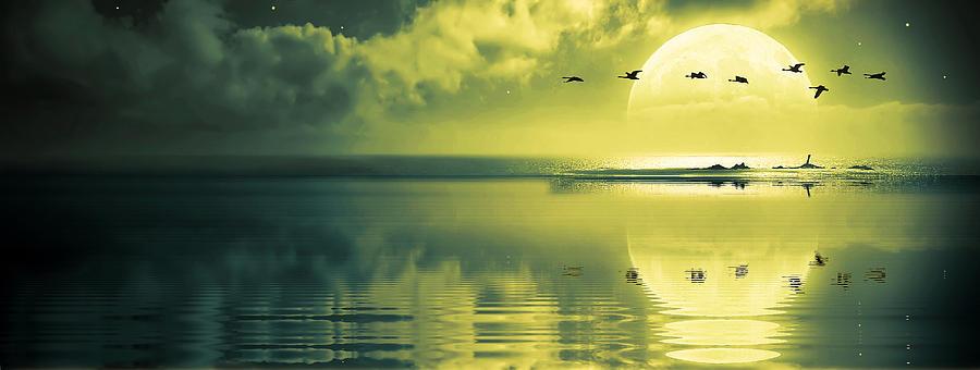 Beautiful Photograph - Fullmoon Over The Ocean by Jaroslaw Grudzinski