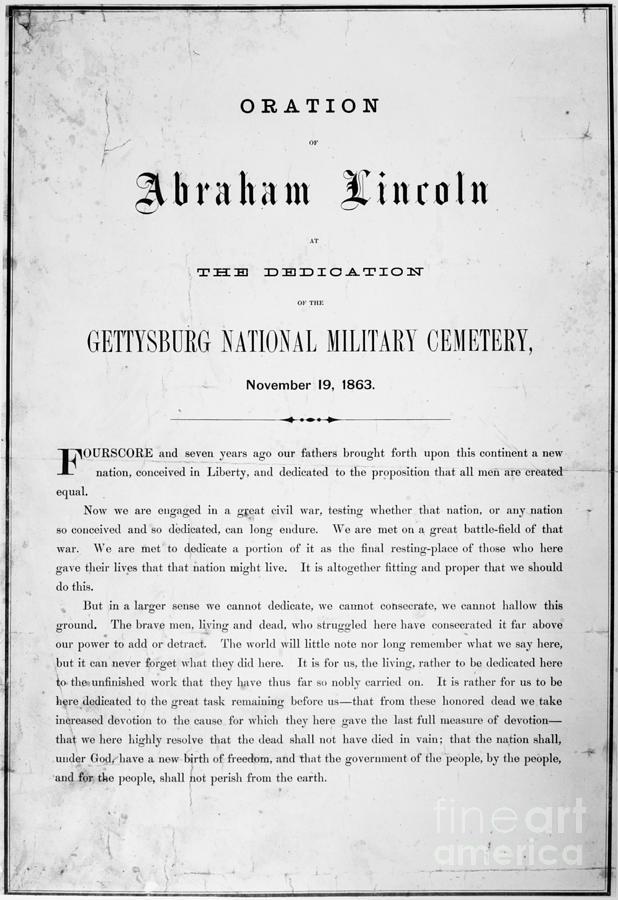 1863 Photograph - Gettysburg Address, 1863 by Granger