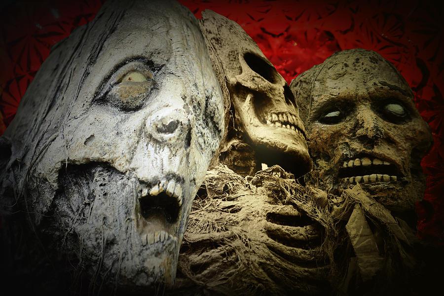 Happy Halloween Digital Art Scary Creepy Horror Skulls Bones Ghosts Skeletons  Digital Art - Happy Halloween by Annette Labedzki