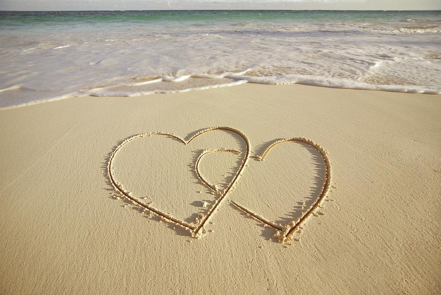 Horizontal Photograph - 2 Hearts Drawn On The Beach by Gen Nishino