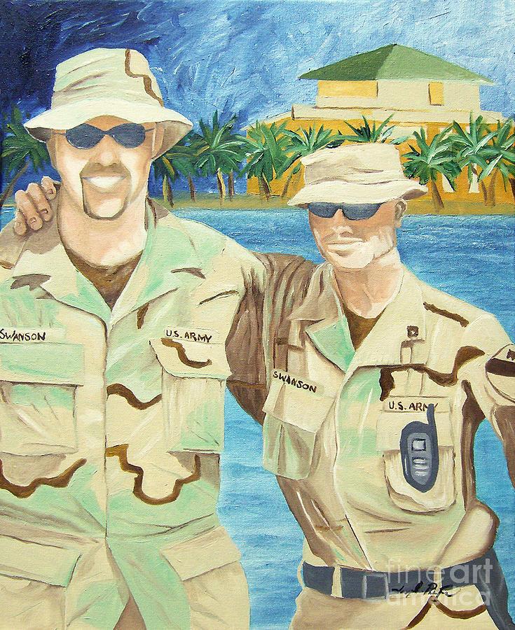 Soliders Painting - 2 Heros by Joseph Palotas