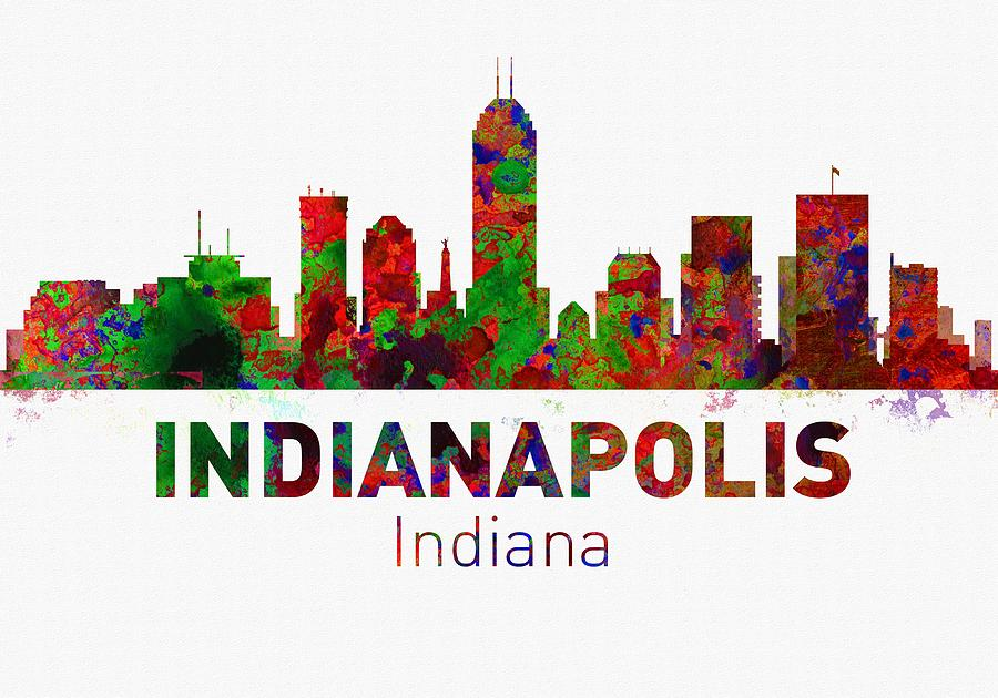 Indianapolis skyline usa city digital art by michael vicin for Indianapolis painting company