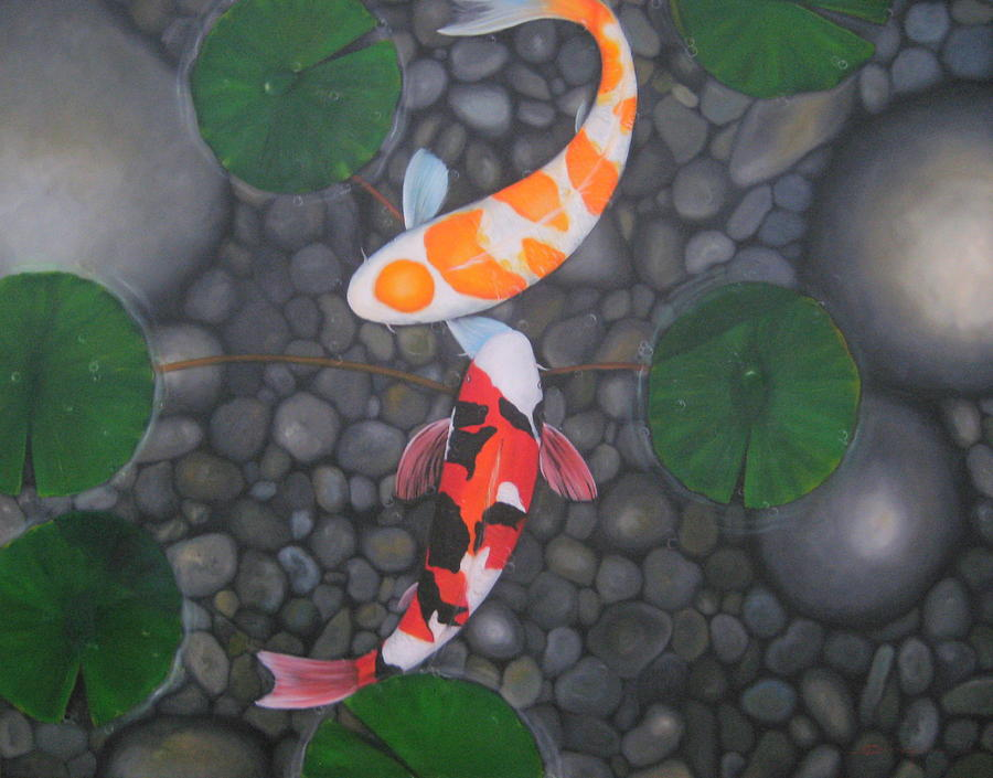 Koi fish in pond painting by sabaiporn wonganu for Koi fish pond rocks