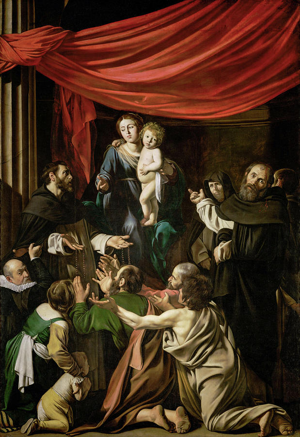Amerighi Painting - Madonna Of The Rosary by Caravaggio