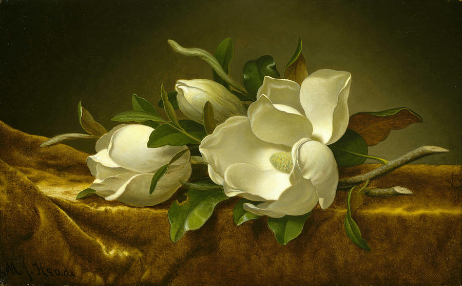 Magnolias On Gold Velvet Cloth Painting