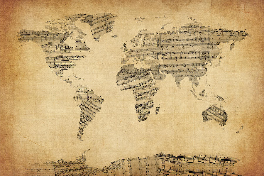 Map Of The World Map From Old Sheet Music Digital Art