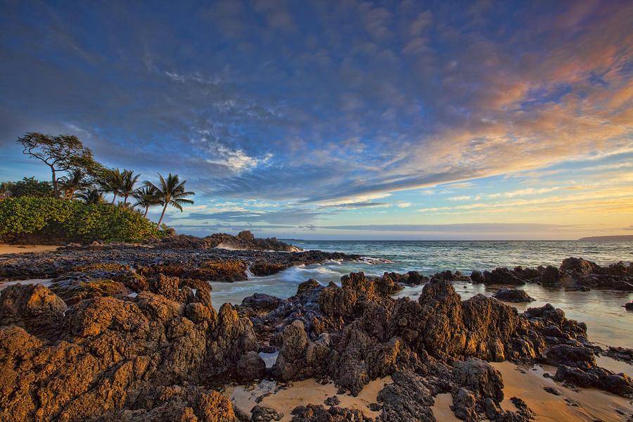 Maui Hawaii Sunset Beach Palmtrees Ebb Flow Clouds Lava Flow Photograph - Maui by James Roemmling