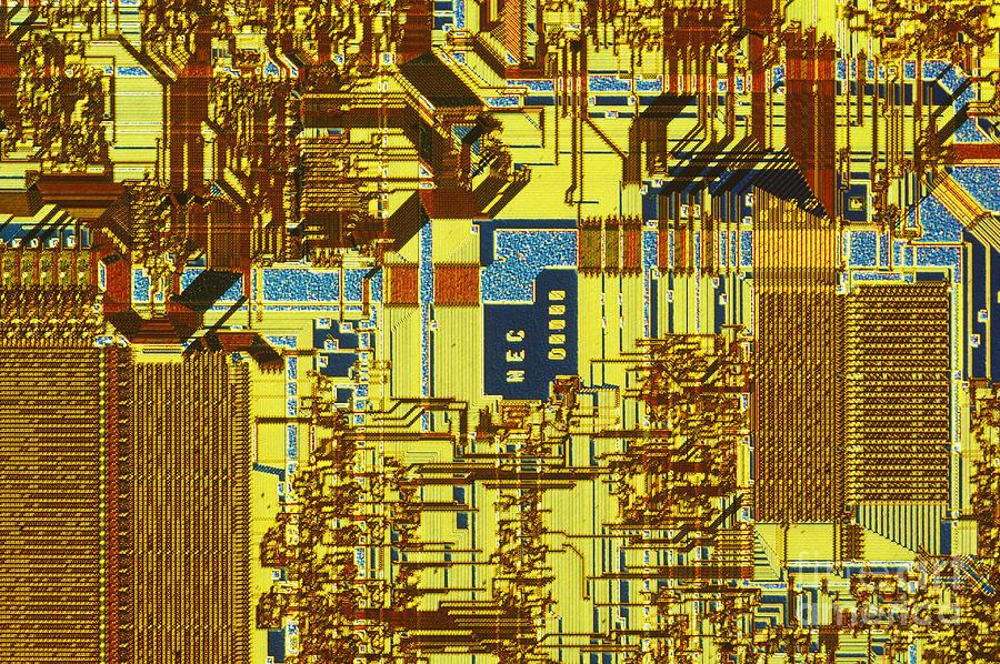 Chip Photograph - Microprocessor by Michael W. Davidson