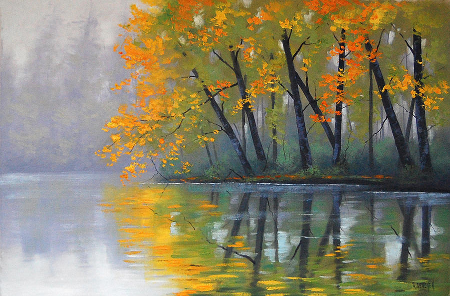 River Painting - Misty Lake by Graham Gercken