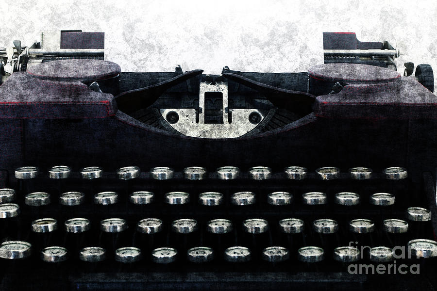 Old Typewriter Machine In Grunge Style Photograph