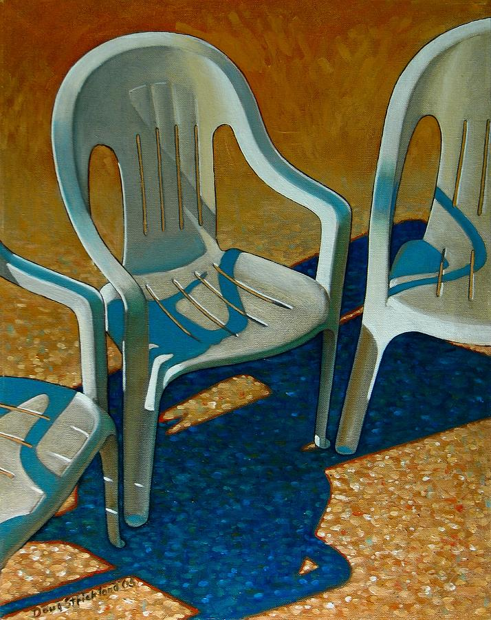 Plastic Patio Chairs Painting By Doug Strickland