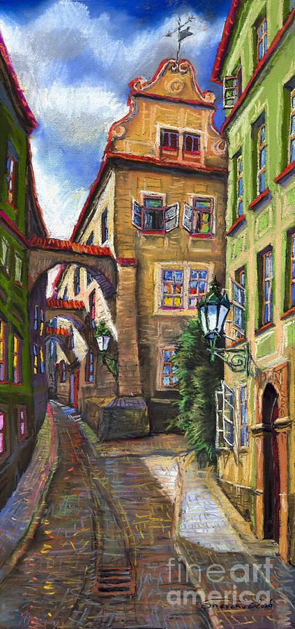 Prague Painting - Prague Old Street by Yuriy  Shevchuk