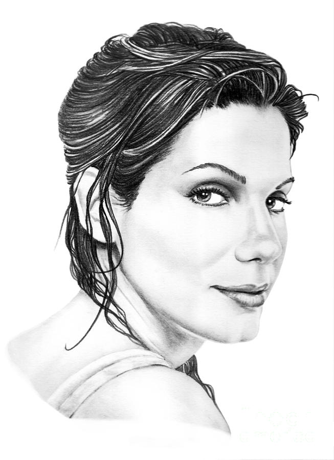 Pencil Drawing - Sandra Bullock by Murphy Elliott