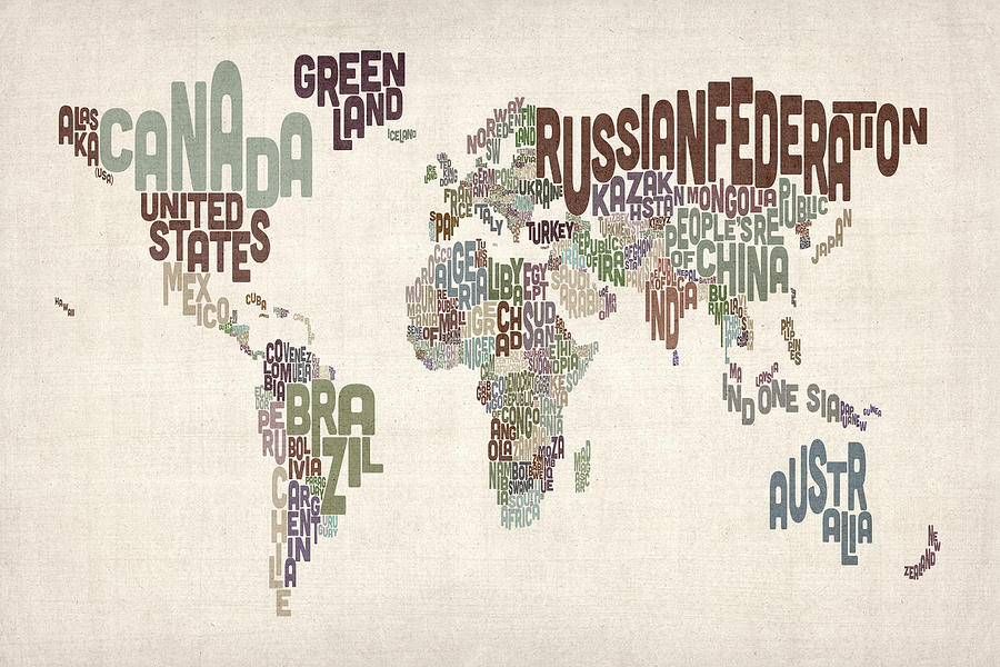 Map Of The World Digital Art - Text Map Of The World by Michael Tompsett
