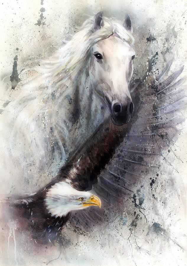 Beautiful white horse paintings - photo#22