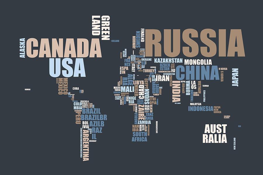 World Map In Words Digital Art