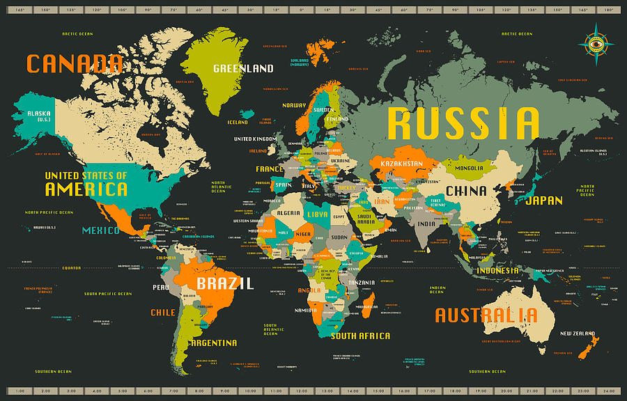World Map Digital Art - World Map by Jazzberry Blue