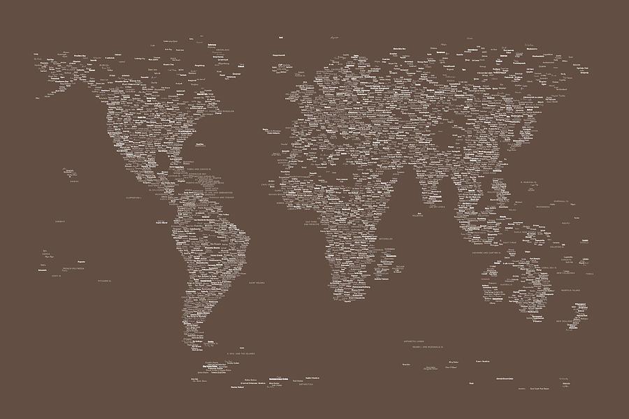 World Map Of Cities Digital Art