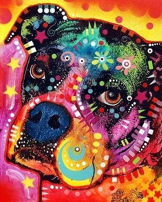 dean Russo Painting Dog Dogs Portrait Graffiti pop Art Pet Etsy Pets Pop Boxer Boxers Painting - Young Boxer by Dean Russo