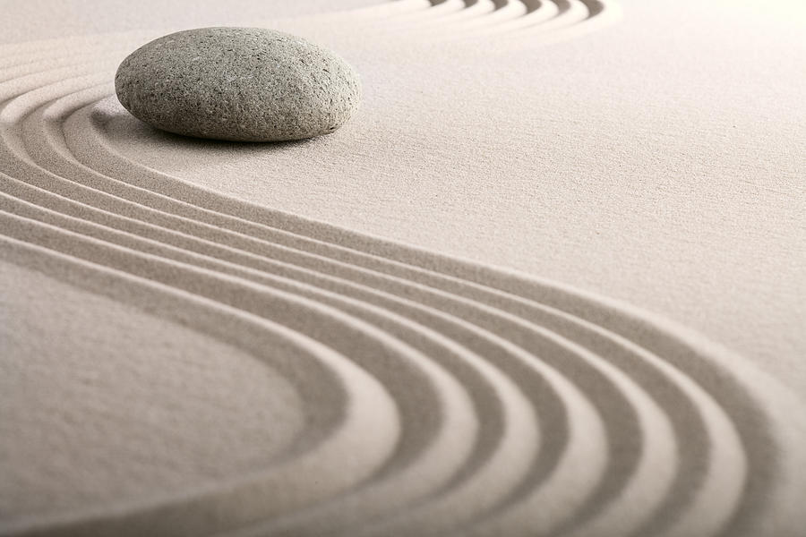 Abstract Photograph - Zen Sand Stone Garden by Dirk Ercken