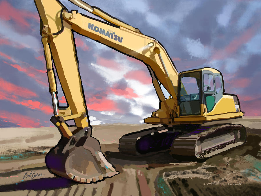 Gomaco Ghp-2800 Slip Form Paver Painting - 2004 Komatsu Pc200lc-7 Track Excavator by Brad Burns