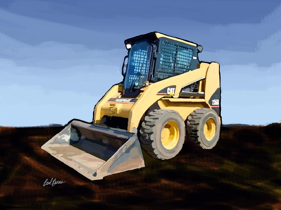 Bulldozers Painting - 2007 Caterpillar 236b Skid-steer Loader by Brad Burns