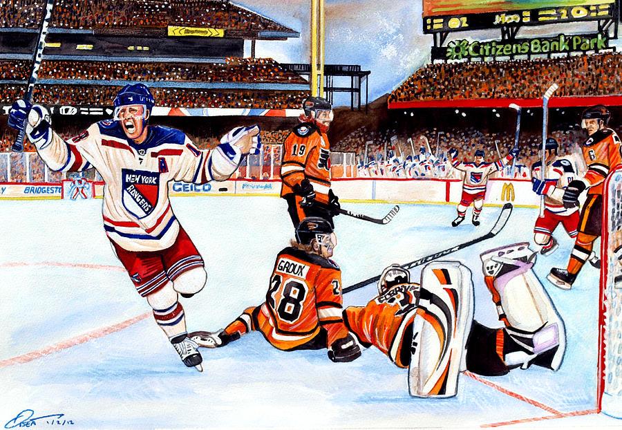New York Rangers Painting - 2012 Bridgestone-nhl Winter Classic by Dave Olsen